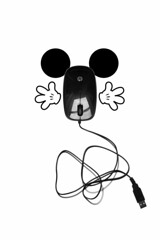 mickey mouse (brescia, italy) (bloodybee) Tags: 365project mickeymouse mouse computer hardware disney toon ears gloves hand tail usb plug cable wire stilllife humor fun draw white black bw