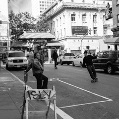 teenage freedom (Adrienne Johnson SF) Tags: 2016 bw peoplewatching sanfrancisco skateboard skaters square streetphotography