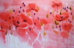 Only red (katekos) Tags: painting watercolor watercolour katekos art akwarela floralwatercolor flowers floral poppies red