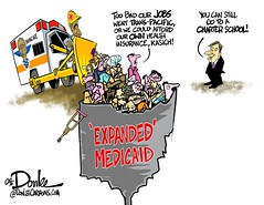1016 medicaid cartoon (DSL art and photos) Tags: editorialcartoon donlee ohio obamacare medicaid johnkasich barackobama healthinsurance charterschools bulldozer ambulance