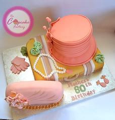 80TH BIRTHDAY CAKE (The Cupcake Factory Barbados) Tags: luggage suitcase cake fruit fondant coral ivory blush ladies 80th