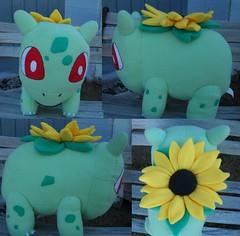sunflower (Cat Octopus) Tags: bulbasaur pokemon plush lifesize cute fanart stuffed animal toy handmade crafts art sew sewn hand plushie