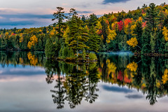 The Island (AaronP65 - A sincere thnx for over 1 million views) Tags: autumn cottage lake water island colors