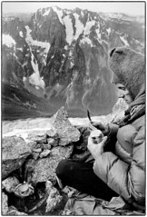 Sausage on the Primus and impending thunderstorms 1977 (Fogle Images) Tags: stevegropp portrait landscape bivouac thunderstorms alpineclimbing forbiddentotormenttraverse northcascades wa