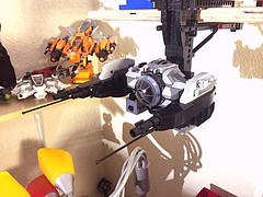 Tie Scrambler on its docking arm WIP. I'll post more when I get the space cleaned up and my photo booth going. (vikingforhire) Tags: scifi lego fighter tie starwars tiescrambler space tiefighter