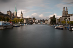 Zurich, Switzerland - Long Exposure (GRPhotog) Tags: zurich switzerland longexposure ndfilter 10stop limmat river travel vacation europeanvacation travelphotography stpeter kirch fraumunster canon canoneos70d canon18135mm