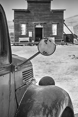 no reflection (reserves13) Tags: bodie northerncalifornia ghosttown truck mirror blackwhite