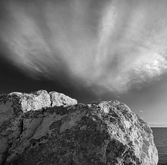 Detail of a rock3 (Ingrid Ugussi Vukman) Tags: rock sea seashore adriaticsea croatia clouds calmness blackwhite wideangle scenic landscape canon calm atmospheric