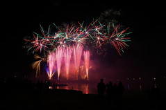 Center Parcs Fireworks (Lgh95) Tags: center parcs fireworks longleat warminster wiltshire long exposure night time explosion colours red green pink orange nightfall black dark people silhouette landscape perspective