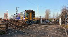 Railway Heritage Survives (whosoever2) Tags: crabley creek yorkshire northernrail class158 158853 2r09 level crossing gate dmu semaphore signal blue sky nikon d7100 november 2016 england unitedkingdom uk gb greatbritain