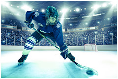 Ice hockey composite (JakaPH Photography) Tags: faceoff wideangle studio composite portrait people sport photoshop ice hockey light bright posing spotlight arena perspective composition action active recreation competitive