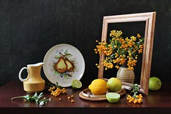 What Can Happen in the Frame (Esther Spektor - Thanks for 12+millions views..) Tags: stilllife naturemorte bodegon naturezamorta stilleben naturamorta composition art creativephotography artisticphoto arrangement autumn tabletop bouquet berry food citrus lemon slice frame plate vase pitcher tray pattern ceramics wooden availablelight white green yellow golden brown estherspektor canon