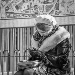 I've Gotta Get A Message To You (Rob Jennings2) Tags: text texting phone lady beret bracknell blackandwhite monochrome fur sitting sit sat people seated