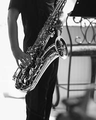 The Sax Man (SopheNic (DavidSenaPhoto)) Tags: saxaphone rokkorlens monochrome 55mmf17 musician player xe1 fuji tenor blackandwhite music legacyglass