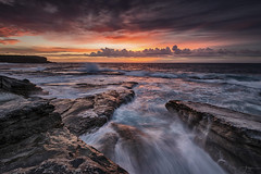 Nature Provides IV (re-edit) (Crouchy69) Tags: sunrise dawn landscape seascape ocean sea water coast clouds sky rocks waves little bay sydney australia