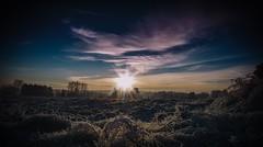 sunrise over ground (blende74.de) Tags: filter landschaft sonnenaufgang tiltshift winter landscape sun sunrise sky cloud vignetted