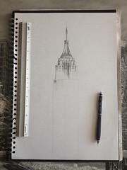 Pinto sueos. (A bird of fate.) Tags: new york city newyork never sleep dream draw papel dibujo dreamer lpiz
