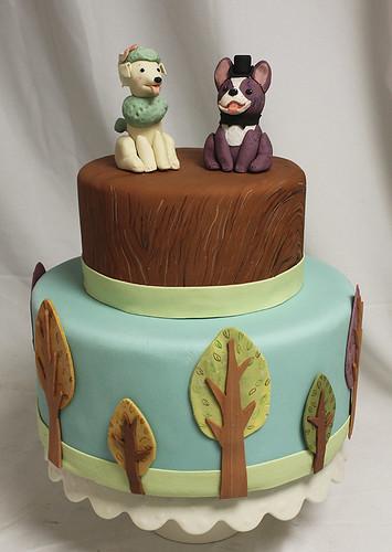 Terrier n Poodle Dogs Wedding Cake