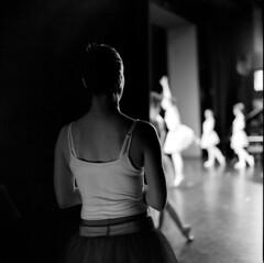 Anticipation #1 (BG Sixtyniner) Tags: bw 120 6x6 film analog mediumformat square dance ballerina theatre rehearsal stage stock performance hasselblad roll push hp5 mf backstage ilford canoscan cf 20c planar 2880mm 500cm carlzeiss 3200asa dressroom microphen 9000f