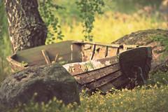 Retired (Jyrki Salmi) Tags: old yellow boat wooden nikon rocks retro 300mm birch nikkor f28 jyrki d600 salmi
