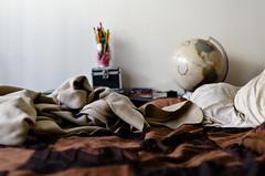 ./..//.../// (Lomomop) Tags: life california stilllife 35mm landscape photography design still bed globe bedroom nikon warm bokeh interior room messy 18 fullerton interiordesign carlosgonzalez d7000 nikond7000 lomomop
