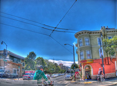 Fogbank Into El Toro, with Ghost bicyclists (Walker Dukes) Tags: sanfrancisco california street blue trees red sky urban food orange cloud brown white black building green cars yellow fog photoshop truck canon landscape photography experimental cityscape view comida victorian cyan neighborhood photographs highdefinition mission sfbayarea missiondistrict taqueria hdr streetsofsanfrancisco photomatix highdefinitionresolution canons95