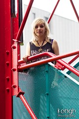 IMG_7100 (Neil Keogh Photography) Tags: blue red black tower girl rock metal stairs necklace bars punk highheels blonde bracelet railings castlefield vesttop bulletformyvalentine rippedtights rockgirl metaltower metallicleggings manchestercitycenter punkgirlmanchester modelpandora