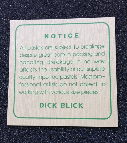 Notice: All pastels are subject to breakage despite great care in packing and handling, Breakage in no way affects the usability of our superb quality imported pastels, Most professional artists do not object to working with various size pieces. DICK BLICK