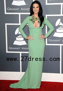 2013 Sexy Katy Perryb High Neck Green Long Sleeve Sheath Celebrity Dresses Gremmy Evening Dresses from 27dress.com
