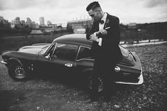 (Desika Devic) Tags: city wedding blackandwhite haircut toronto guy car magazine photography groom model cityscape edmonton photographer suit nostalgia vogue triumph nostalgic g6 cuff gq