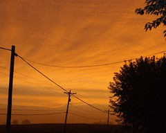 101513 sunrise (LaLa83) Tags: morning autumn ohio sky orange fall field clouds rural sunrise early october sony country powerlines a230 fairfieldcounty 2013 ruralohio stoutsville ohiofoothills