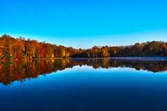 Daytime on the Lake (Josh J Street) Tags: blue lake reflection art beautiful leaves 35mm canon landscape prime mirror pond colorful natural pennsylvania sigma naturallight sharp foliage pa poconos 35 creativemindsphotography 5dmarkii 5d2 sigma3514 canon5dmarkii dblringexcellence tplringexcellence