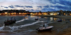 St Ives after dark. Lumix DMC G3. P1030277 to P1030281. (Robert.Pittman) Tags: uk panorama landscape boats lumix lowlight cornwall harbour panasonic gb lowtide stives stitchedimage thesouthwest thewestcountry lumixgvario1442mmf3556 dmcg3k asphmegarois