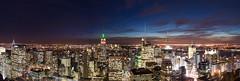 NYC sunset (daweitan) Tags: city nyc newyorkcity panorama usa newyork skyline night america landscape roc cityscape panoramic empire empirestatebuilding rockefeller select