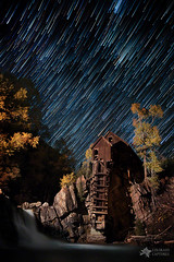 Starry Night Star Trails At The Crystal River Mill (Mike Berenson - Colorado Captures) Tags: longexposure autumn trees sky lightpainting fall mill nature water leaves night river stars landscape mammal waterfall colorado seasons n
