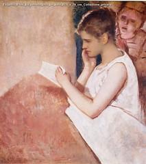 Eugenio Prati La lettera olio su tela 82,5 x 76 cm Collezione privata