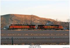 BNSF 7707 & 5266 (Robert W. Thomson) Tags: railroad train montana diesel greatfalls railway trains locomotive trainengine ge bnsf dash944cw burlingtonnorthernsantafe dash9 gevo c449w es44ac es44 evolutionseries sixaxle d944cw