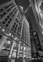 Catwalk (John Hill Photography) Tags: city bridge winter light sky chicago cold west building tower architecture night canon buildings river photography lights flickr loop sears north sigma windy clear chi merchandise trump 1770 f28 willis mart chicagoist chicity 1770mm 60d