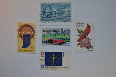 I is for Indiana (RevDrPepper) Tags: cardinal stamps indiana peony williamhenryharrison indianaterritory stateflagofindiana