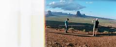 The World ends in Monument Valley (flippers) Tags: vacation arizona usa mountain holiday jason mountains film mike rock america 35mm unitedstates desert horizon wide roadtrip panoramic swinglens navajo monumentvalley kayenta endofroll horizonperfekt istsébii'ndzisgaii