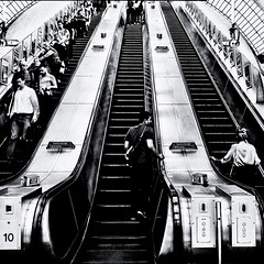 Commute (Kevin R Thornton) Tags: england urban bw london underground blackwhite unitedkingdom escalator commute publictransport urbanlandscape mygearandme mygearandmepremium mygearandmebronze