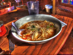 Chicken Noodle Soup is Good for You! HDR (Walker Dukes) Tags: sanfrancisco california wood red food brown white green glass silver table restaurant chair sauce napkin comida grain fork spoon bowl plastic onions delicious greens highdefinition garlic sfbayarea trashcan chilli eats beansprouts cilantro sprouts broth eatery vermicelli abigfave highdefinitionresolution bocchoy
