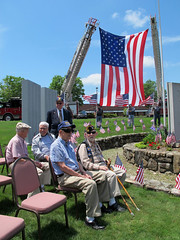 Dad (center) in the WWII vet seats (Coyoty) Tags: blue portrait sky people holiday green grass weather clouds spring memorial connecticut flag father wwii lawn scenic ceremony ct sunny bluesky american patriot veteran flagday easthampton