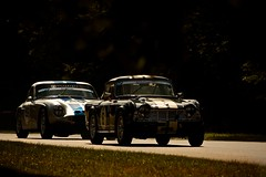 A 1964 Triumph TR4 being chased through Stirlings Bend (Gary8444) Tags: june club canon martin historic hatch circuit aston gp brands motorsport amoc 2014 owners