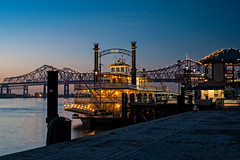Steamboat Natchez in the Morning Twilight (MichellePhotos2) Tags: steamboat natchez steamboatnatchez morning twilight bluehour river mississippi neworleans nikon d800e nikond800e louisiana toulouse street wharf toulousestreetwharf 50mm prime crescent city connection crescentcityconnection bridge greaterneworleansbridge cantilever