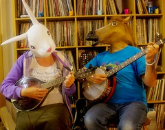 the family that plays together... stays together  272/366 (horsesqueezing) Tags: 366the2016edition 3662016 day272366 28sep16 masks rabbit bunny horse mandolin banjo