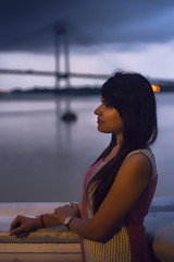 Looks like Calcutta, girl! (R.Mitra aka @the.photoguy (instagram)) Tags: kolkata calcutta girl girlnextdoor indiangirl beautiful cute elegant dusk evening bridge gangariver bluehour cloudysky riverside sunset nikond750 50mm portrait ethnicwear traditionalclothes naturallight