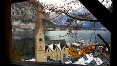 Winter Spy (GrisParr) Tags: winter hallstatt austria europe travel water snow church building trees nature landscape architecture antique lake january scenic scenery window