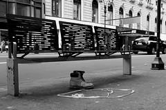 Discarded Timberlands (andyfpp) Tags: fuji fujifilm x100t newyork newyorkcity nyc manhattan 34thstreet timberland bench metal wood blackandwhite bw blackwhite bwred mono monochrome monotone discarded whatisawinnewyork shotasseen 2016 september street