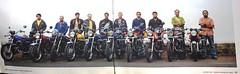 An early lineup (Yazed RD350 Lord) Tags: rd350 yamaha lineup meet bandra mumbai bombay bsm motoring self yellow red black checks blue sky promenade bike bikes club